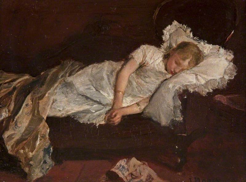 Maris, Jacob Henricus, 1837-1899; A Girl Asleep on a Sofa