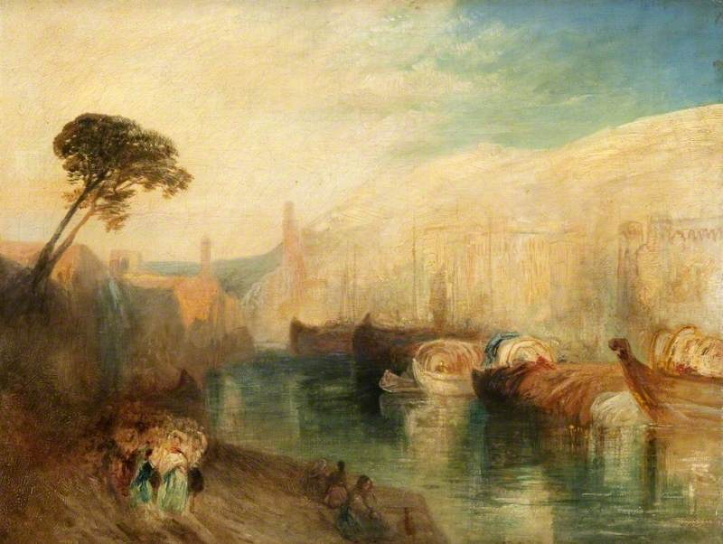 Turner, Joseph Mallord William, 1775-1851; Italian Scene with Boats and Figures