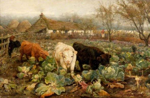 Adam, Joseph Denovan, 1841-1896; Calves in the Cabbage Patch