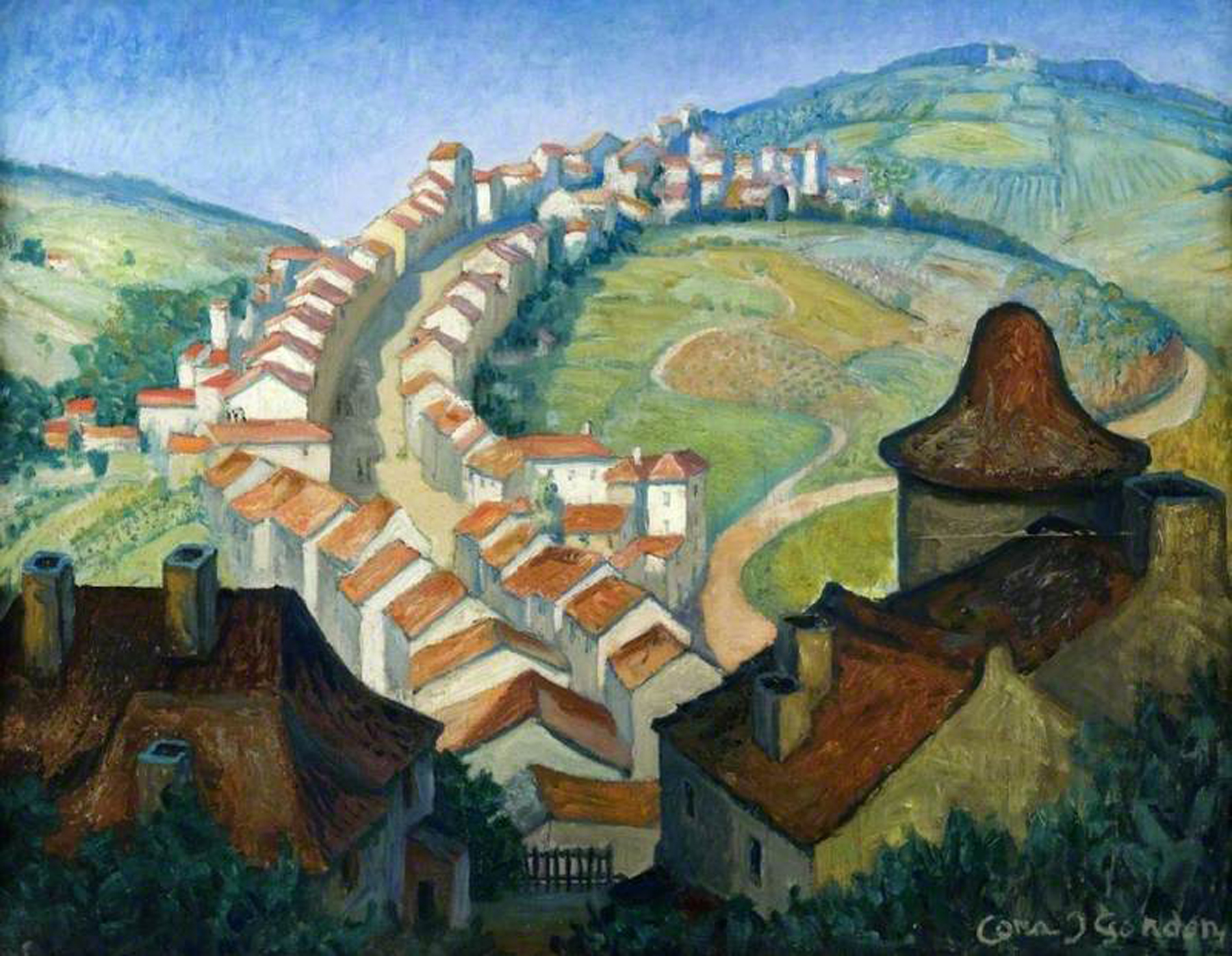 Gordon, Cora Josephine, 1879-1950; France: The Village on the Hills